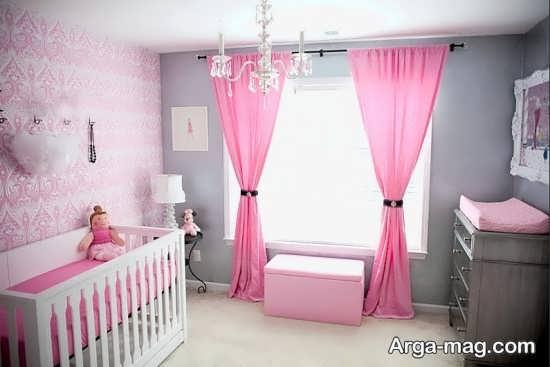 تزیین اتاق نوزاد دختر با دو رنگ صورتی و خاکستری