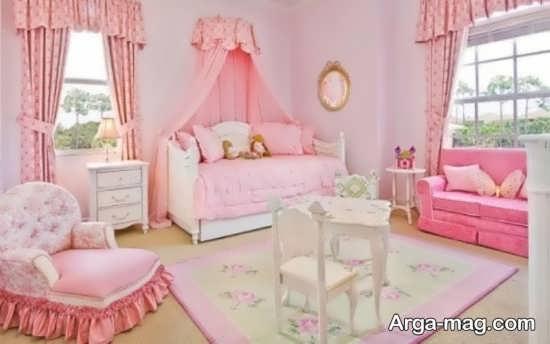 دکوراسیون جدید اتاق خواب نوزاد دختر با ترکیب رنگ صورتی و سفید