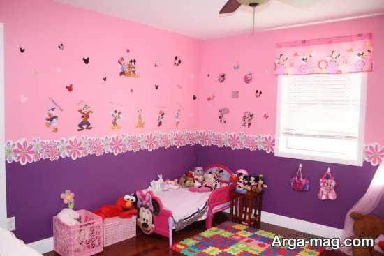 تزیین اتاق نوزاد دختر با رنگ بنفش و صورتی
