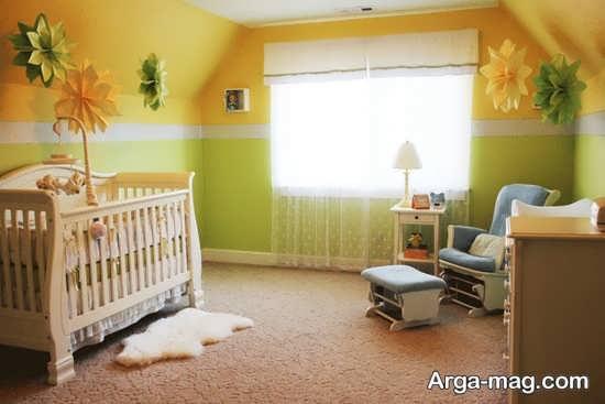 ترکیب دو رنگ زرد و سبز برای اتاق نوزاد