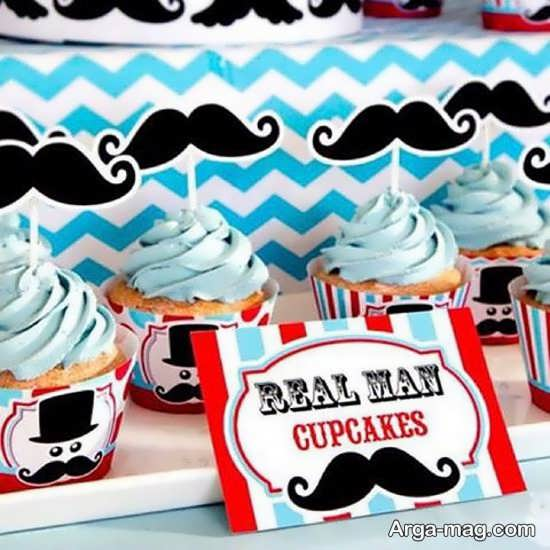 تزئین کاپ کیک با عکس سبیل