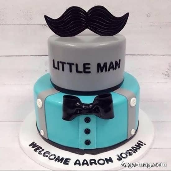 طرح کیک تولد با تم سبیل