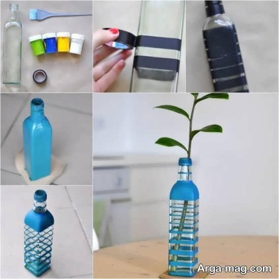 ساخت گلدان با شیشه و رنگ
