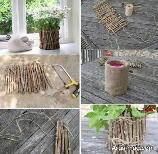 ساخت گلدان برای تزیین آشپزخانه با وسایل ساده با چوب