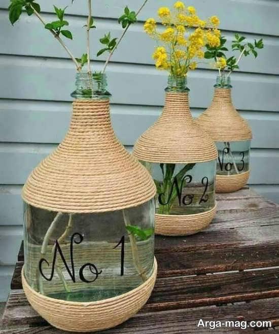 ساخت گلدان با بطری و کاموا