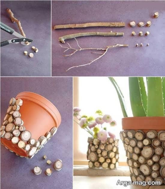 دیزاین گلدان با قطعه های چوب