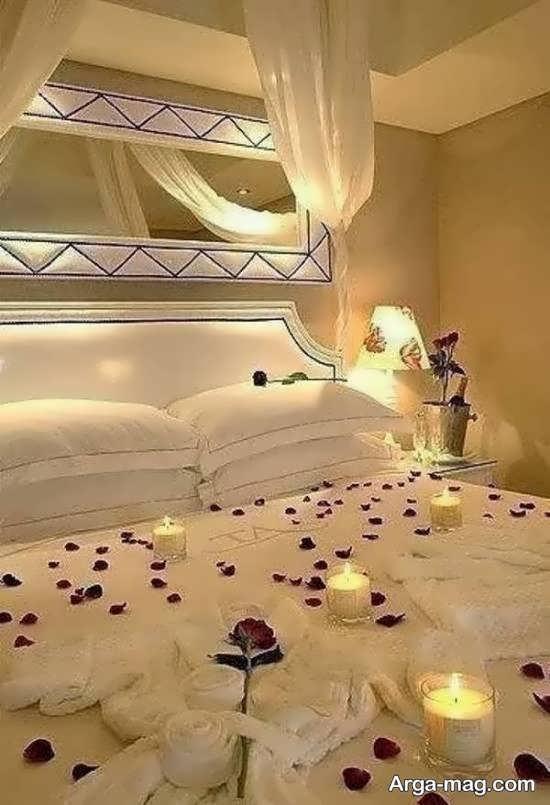تزیین زیبای اتاق خواب با شمع