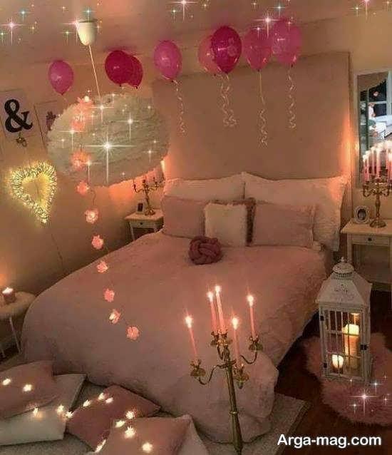 دیزاین شیک اتاق خواب با شمع