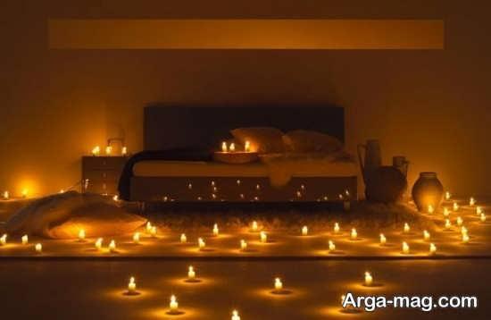 شمع آرایی زیبا و جالب در اتاق خواب