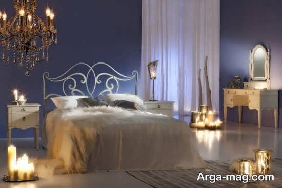 تزیین اتاق خواب دو نفره با شمع های تزیینی