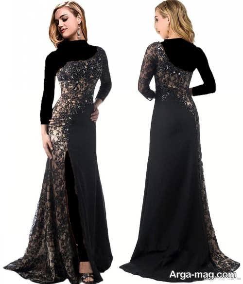 مدل لباس شب مشکی بلند