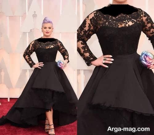 مدل لباس شب کار شده با گیپور