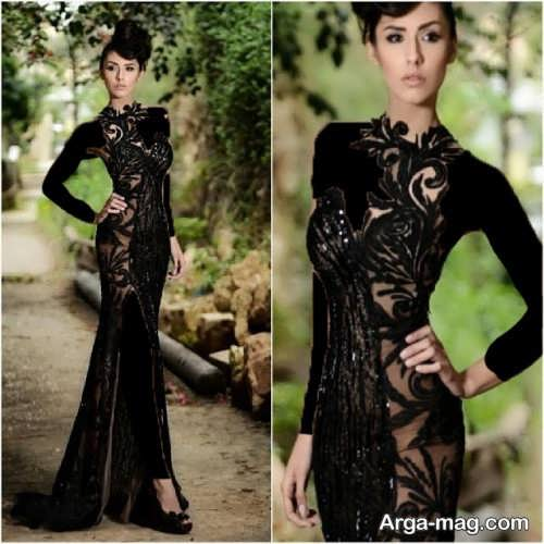 مدل لباس شب مشکی بلند و شیک