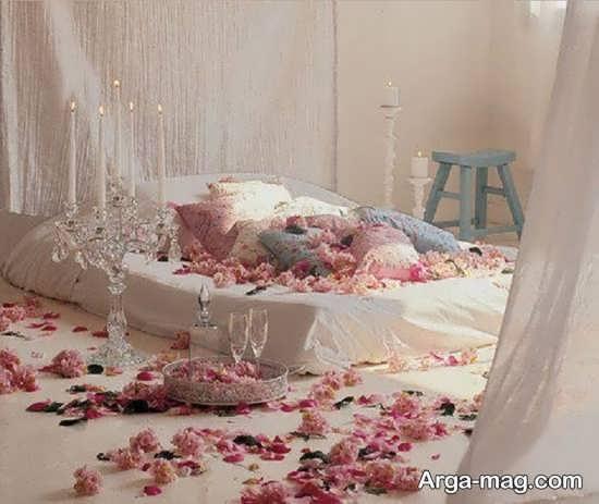 تزیین اتاق عروس با گل و شمع