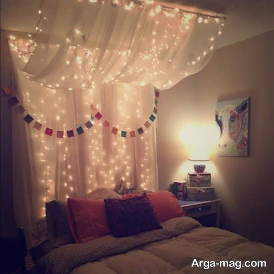 for Young woman bedroom and string lights