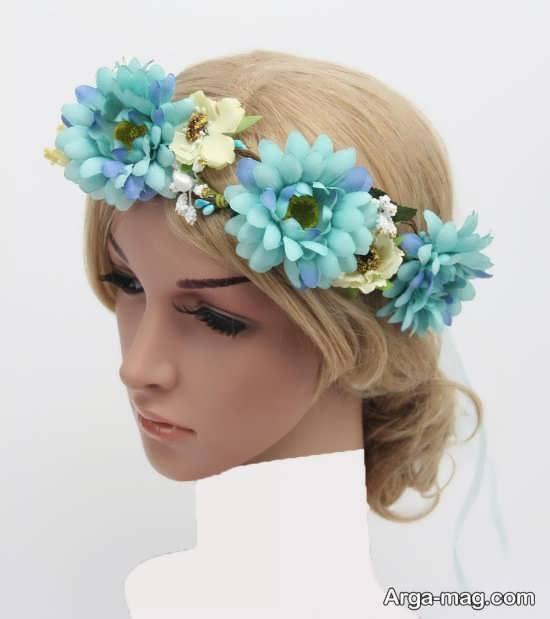 مدل تاج گل آبی عروس