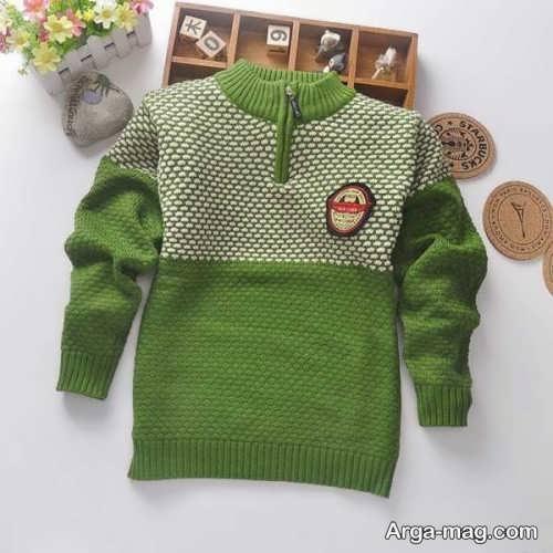 مدل ژاکت سبز بافتنی بچه گانه