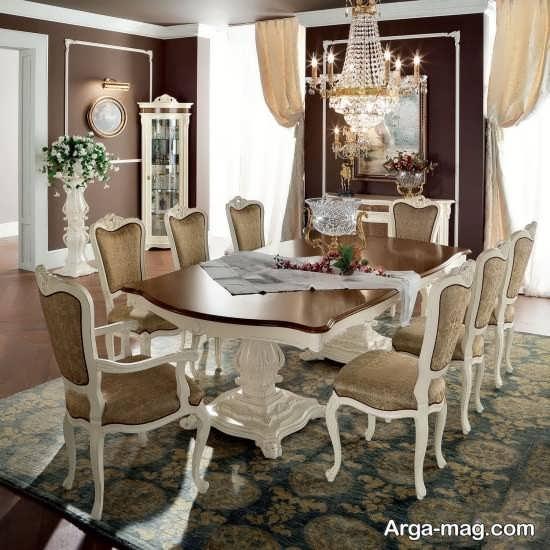 چیدمان اتاق غذا خوری با میز ناهار خوری سلطنتی