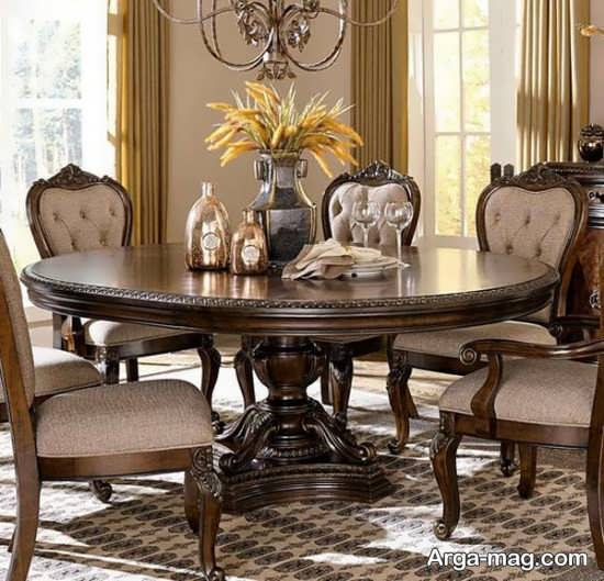 مدل گرد میز ناهار خوری کلاسیک