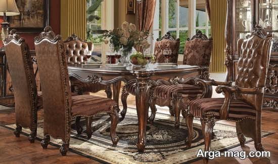 مدل میز ناهار خوری چوبی کلاسیک
