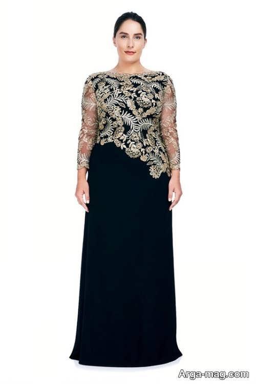 مدل لباس مجلسی زنانه مشکی طرح دار