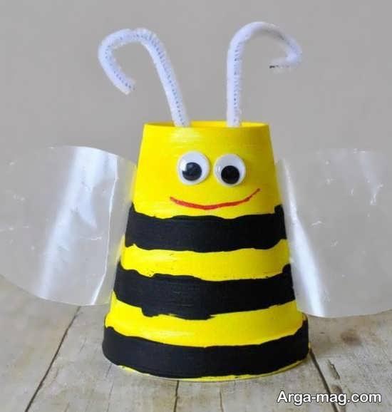 خلاقیت ساخت زنبور با لیوان کاغذی