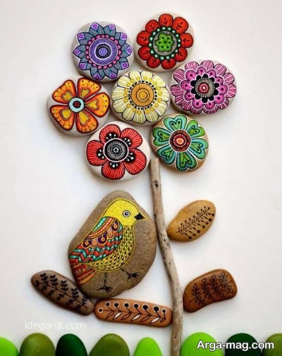 ساخت کاردستی گل با سنگ