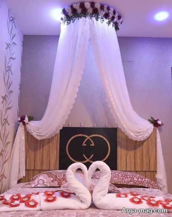 تصاویری از تزیینات اتاق عروس با تور
