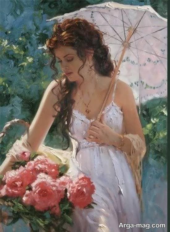 نقاشی رنگ روغن از زنان زیبا