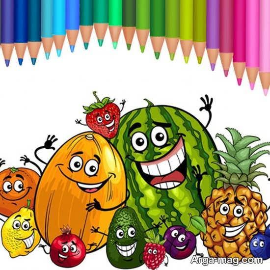 رنگ آمیزی میوه با مداد رنگی های مختلف