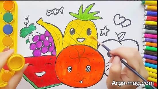 طراحی و رنگ آمیزی میوه برای بچه ها
