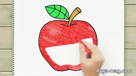 طراحی و رنگ آمیزی سیب برای کودکان