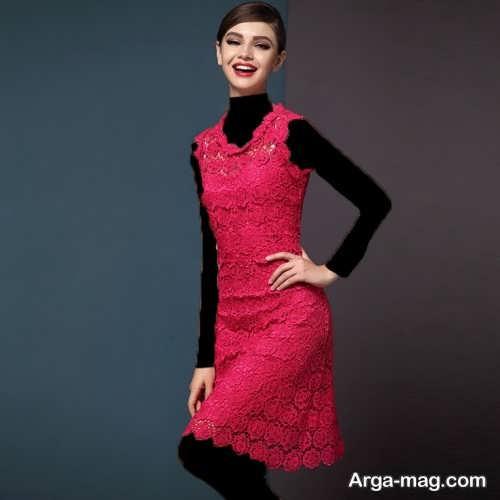 مدل لباس مجلسی کوتاه و جذاب گیپور