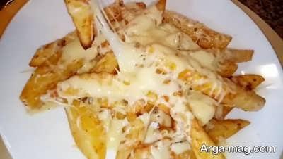 روش پخت سیب زمینی با پنیر پیتزا