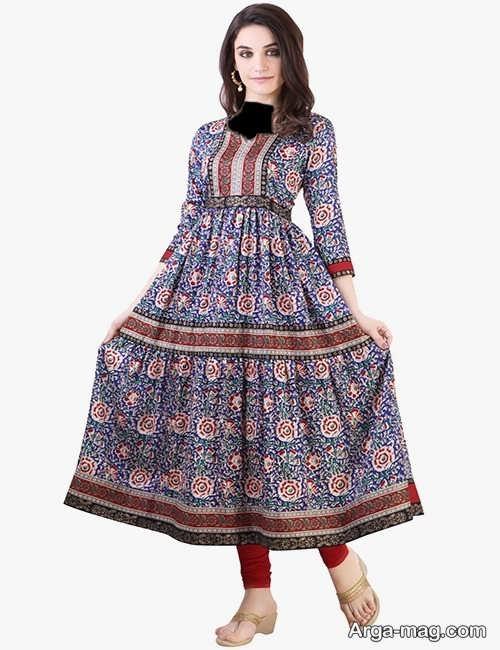 مدل لباس هندی طرح دار بلند