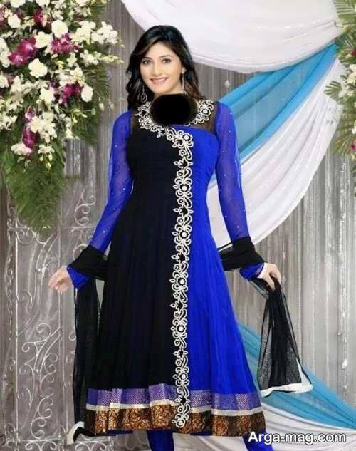 مدل لباس آبی و مشکی پنجابی