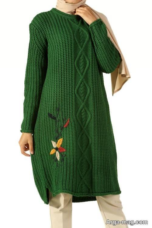 مانتو بافتنی دخترانه به رنگ سبز