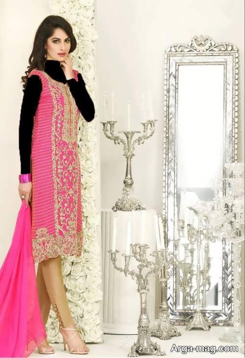 مدل لباس صورتی پاکستانی طرح دار