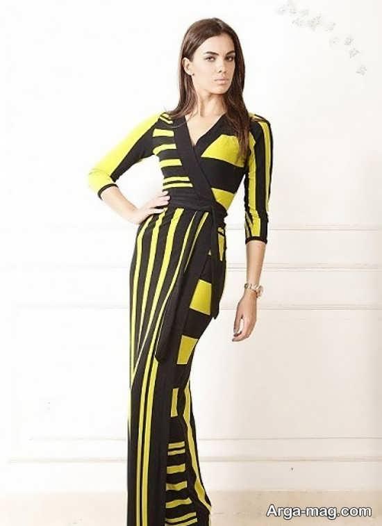 مدل لباس مجلسی بلند با پارچه ریون طرح دار