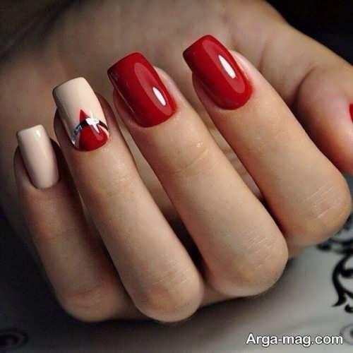 طراحی ناخن لاک قرمز دخترانه