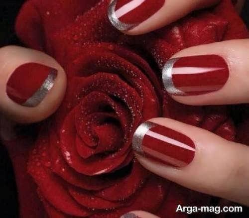 آرایش زیبای ناخن لاک قرمز