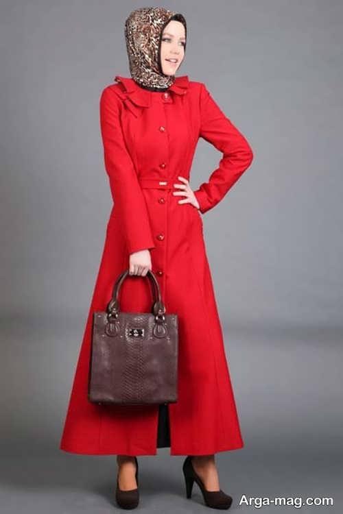 مدل مانتو بلند قرمز