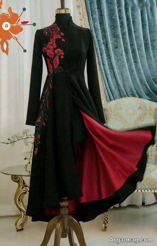 مدل مانتو بلند مجلسی قرمز و مشکی