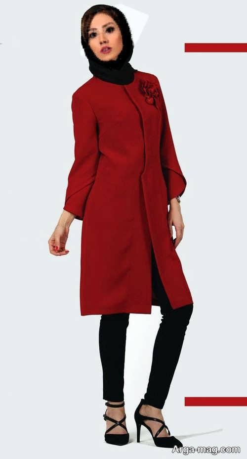 مدل مانتوی ساده و زیبا قرمز