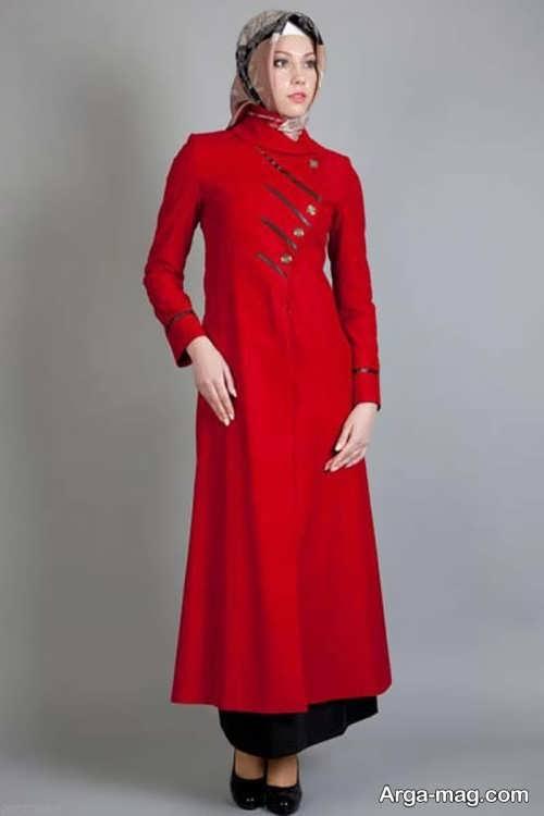 مدل مانتوی بلند و شیک قرمز