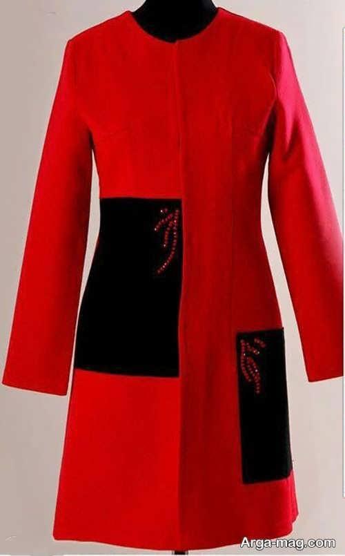 مدل مانتو مشکی و قرمز شیک
