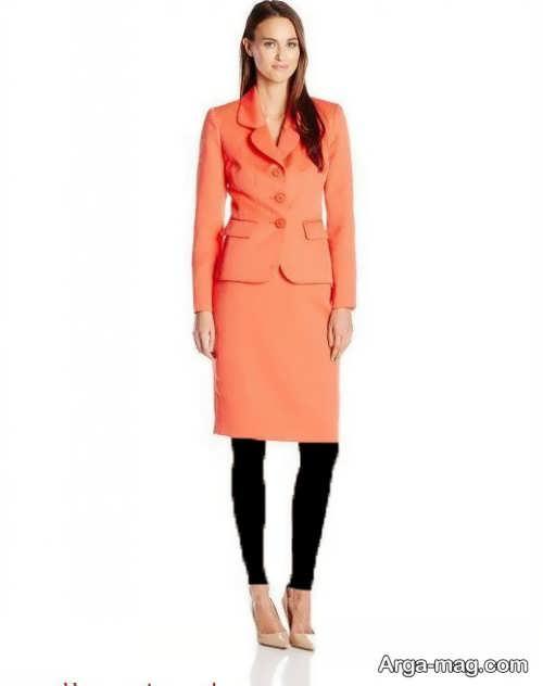 مدل کت دامن کوتاه نارنجی
