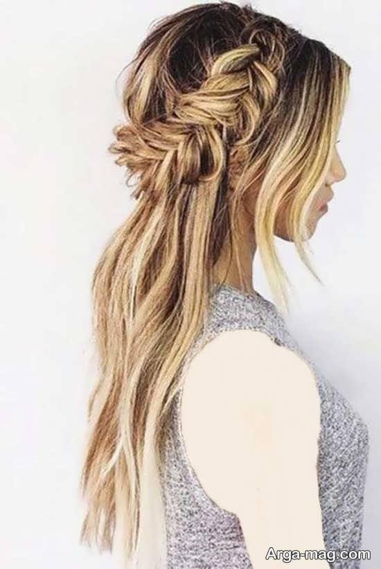 مدل مو باز و بسته زیبا برای موهای بلند