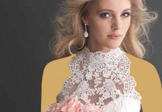 مدل لباس عروس یقه ایستاده شیک و زیبا