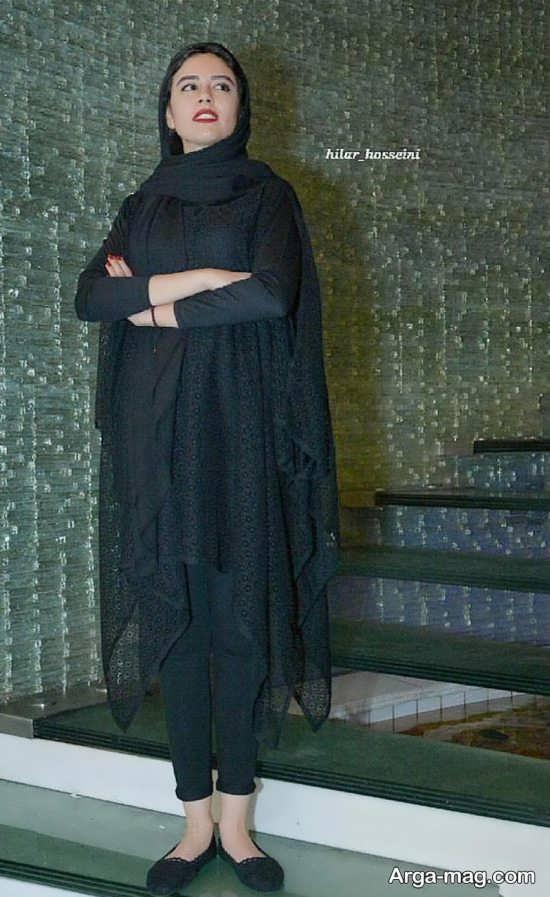 ست مانتو شلوار مدل مانتو گیپور ماهور الوند در اکران فیلم جدیدش